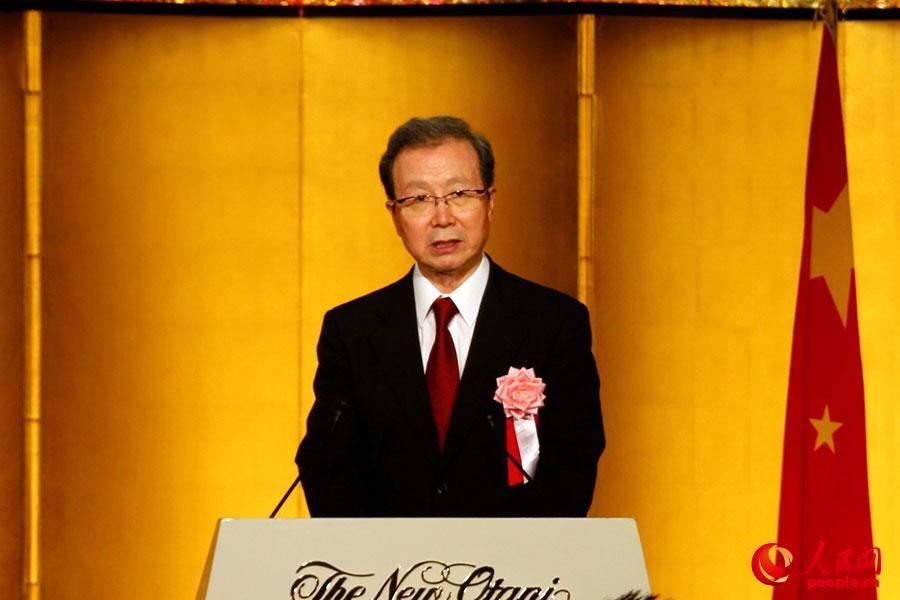 在日本中国大使館の建国68周年レセプションに安倍晋三首相が出席